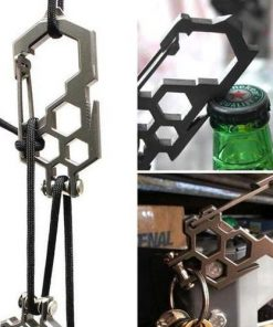 ALL-IN-ONE Wrench, Para-biner, Pulley, Carabiner, Key Holder, Bottle Opener